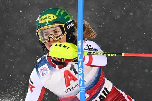 Konzentriert und voll auf Zug, im zweiten Durchgang fuhr Katharina Liensberger die Bestzeit bei der Slalom-Show in Flachau.???