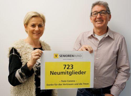 LGF Franz Himmer und Sekretärin Angelika Türtscher freuen sich über 723 Neumitglieder. seniorenbund