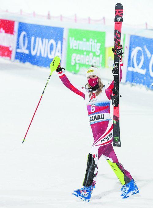 Laufbestzeit im zweiten Durchgang, am Ende nur von Mikaela Shiffrin abgefangen: Katharina Liensberger lieferte in Flachau die nächste Topleistung ab.gepa