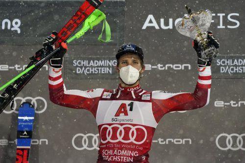 Marco Schwarz fuhr in Schladming zu seinem zweiten Weltcupsieg in dieser Saison, es war insgesamt der vierte in seiner Karriere.ap