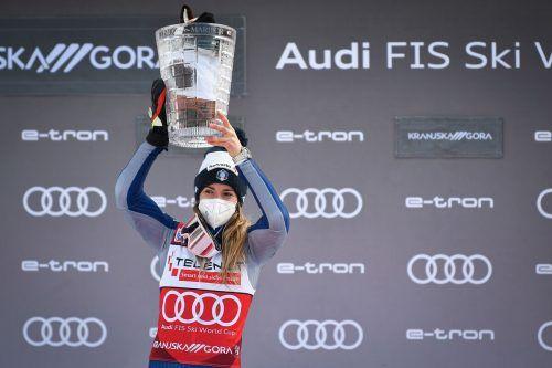 Marta Bassino ist im Riesentorlauf derzeit nicht zu bezwingen, das zeigte der Doppelsieg der Italienerin in Kranjska Gora.gepa/3