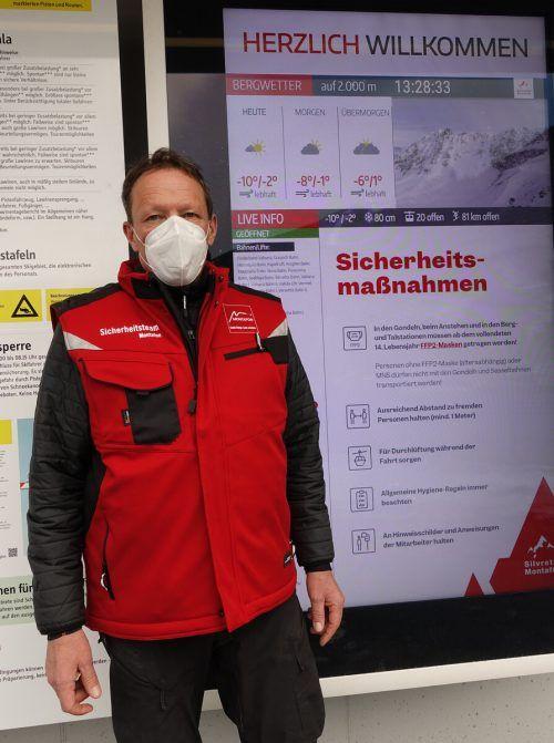 Monatelang bereitete Raimund Köhler Präventionskonzepte vor, nun ist er selbst als Covidranger, also Ansprechperson und Kontrolleur, im Einsatz. Silvretta Montafon