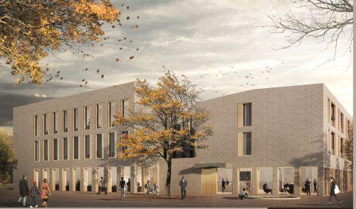 So sieht das neue Gebäude der Raiffeisenbank Vorderland im Entwurf aus, Ansicht und Architektur sind allerdings noch nicht finalisiert. Raiffeisen