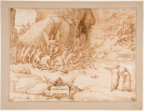 Szene aus den Illustrationen zu Dante von Federico Zuccari. ap