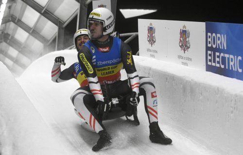 Thomas Steu (vorne) und Lorenz Koller waren mit ihrer Fahrt durchaus zufrieden.ap