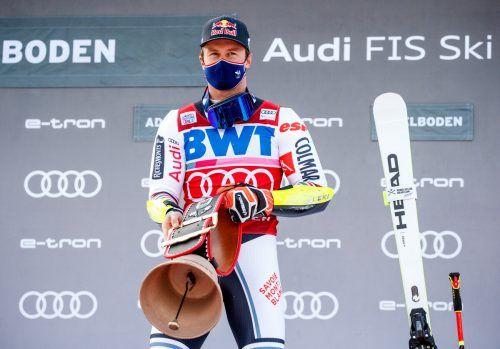 Zwei Rennen im Riesentorlauf in Adelboden, zweimal stand der Franzose Alexis Pinturault ganz oben auf dem Podest. gepa