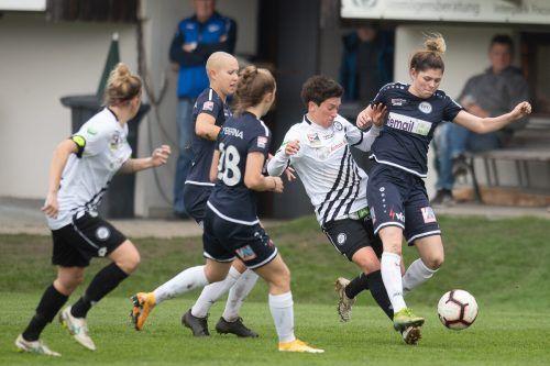 Ab sofort werden die Frauen des FFC Vorderland ihre Heimspiele in der Frauen-Bundesliga in der Cashpoint Arena in Altach austragen.VN-Sams