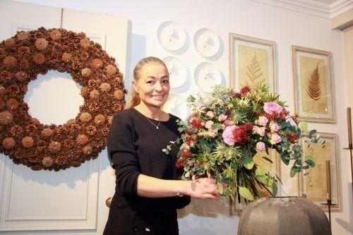 """Blumen bringen am Valentinstag Farbe und Freude in den Corona-Alltag.Daniela Le Duigou von der """"Dada Flower Boutique"""" in Dornbirn freut sich bereits auf die Kunden. VN/BMO"""