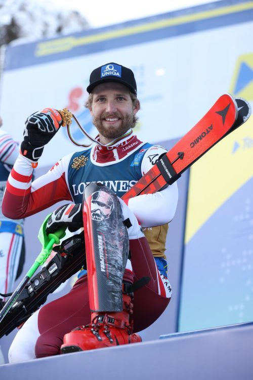 CORTINA D AMPEZZO,ITALY,15.FEB.21 - ALPINE SKIING - FIS Alpine World Ski Championships, alpine combined, men, award ceremony. Image shows the rejoicing of Marco Schwarz (AUT). Photo: GEPA pictures/ Harald Steiner