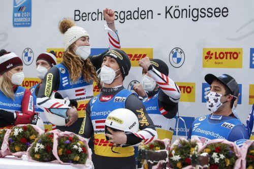 Das ÖRV-Quartett mit Madeleine Egle, Lorenz Koller, Thomas Steu und David Gleirscher (v. l.) schnappte den alles dominierenden Deutschen die WM-Krone im Team weg. GEPA