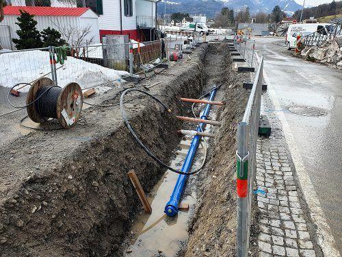 In Bludesch werden neue Wasserleitungen verlegt.Gemeinde