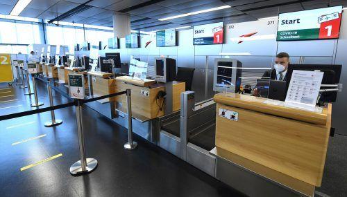 Gähnende Leere an den Abflugschaltern der heimischen Airports. APA