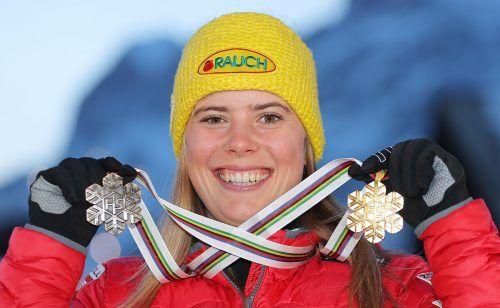 Gold und Bronze hat Katharina Liensberger schon. Mit dem Slalom steht ihre Spezialdisziplin bei der WM aber noch aus.gepa