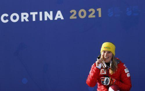 Im Slalom winkt Katharina Liensberger noch einmal Edelmetall. Reuters