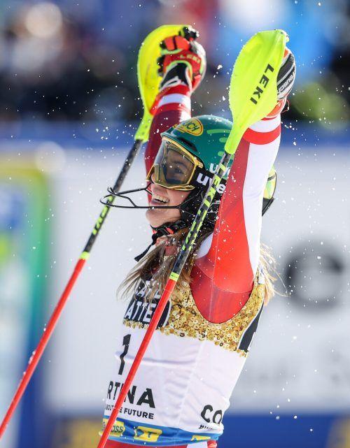 Katharina Liensberger wurde Slalom-Weltmeisterin, ohne zuvor ein Weltcuprennen gewonnen zu haben. GEPA