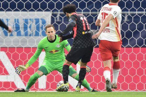 Liverpools Mohamed Salah leitete die Niederlage für Leipzig ein.afp
