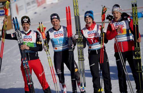 Lukas Klapfer, Lukas Greiderer, Johannes Lamparter und Mario Seidl ließen ihren Emotionen nach dem Gewinn der Bronzemedaille freien Lauf.apa