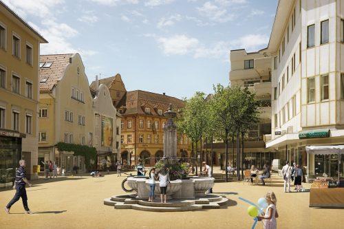 So soll der neue Leutbühel im Herzen von Bregenz im Frühjahr nächsten Jahres laut Computerrendering einmal aussehen.Expressiv GmbH