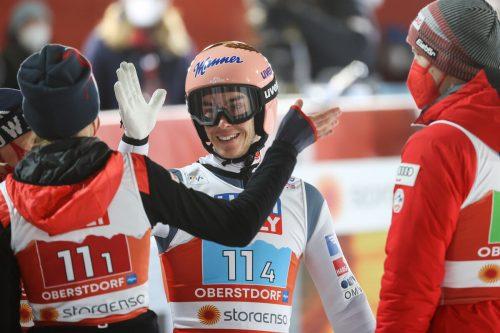 Stefan Kraft konnte mit Marita Kramer, Daniela Iraschko-Stolz und Michael Hayböck über Bronze im Mixed-Bewerb jubeln.gepa