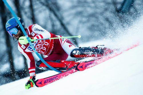 Super-G am Damen-Hang, der Slalom auf flachem Gelände: Marco Schwarz gehört in der Kombination heute zu den Favoriten.gepa
