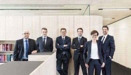 TWP-Partner v.l.: Alexander Wittwer, Christian Wirthensohn, Viktor Thurnher, Lukas Pfefferkorn, Gabriele Meusburger-Hammerer, Gregor Lässer. FA/LM