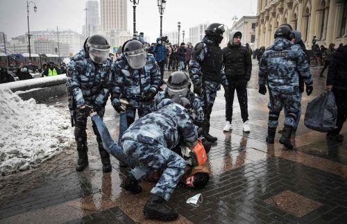 Während Demonstrationen für den inhaftierten Kremlkritiker Alexej Nawalny in Russland kam es zu zahlreichen Festnahmen. AFP