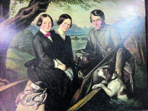 Andreas Griß mit seinen Töchtern Anna und Kreszenz (Mitte), um 1850 gemalt von Josef Bucher.