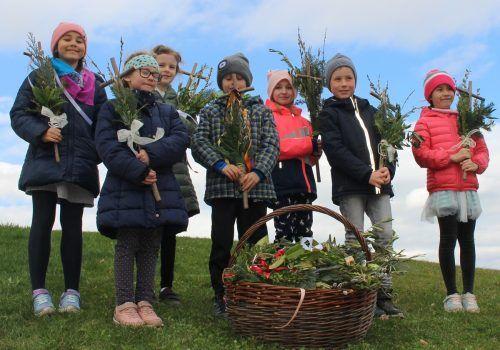 Auch wenn der Gottesdienst am Palmsonntag ausfiel – Schulkinder sorgten dafür, dass Gläubige ihre Palmbuschen in der Kirche abholen konnten.