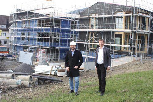 Bauleiter Frank Schwendinger und Inside-Geschäftsführer Joe Welte freuen sich auf die baldige Eröffnung. VN/Knobel