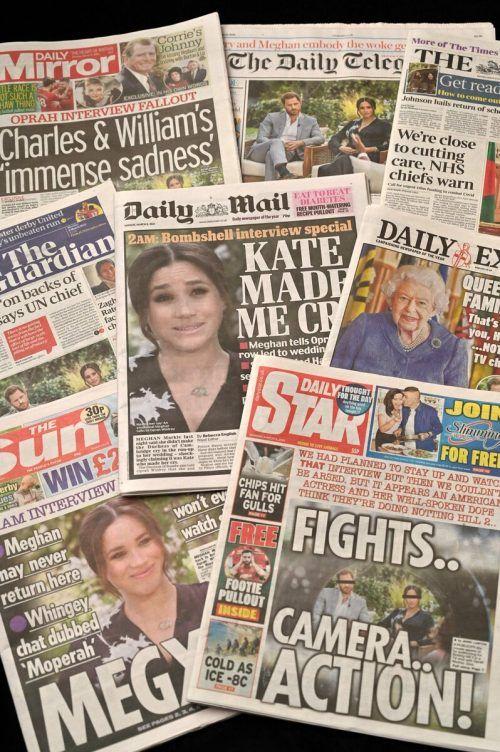 Bei britischen Boulevard-Zeitungen gab es gestern kein anderes Thema. Afp