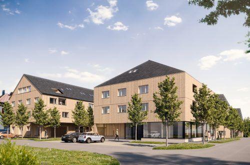 So soll die neue Wohnanlage in Hohenweiler einmal aussehen. In zwei Gebäuden sind zudem Gewerbeflächen vorgesehen.