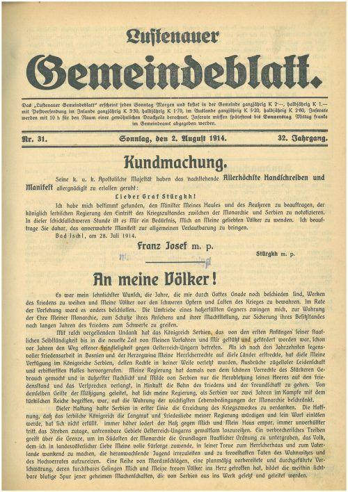 Das historische Gemeindeblatt gibt es unter anno.at zu lesen.Gemeinde