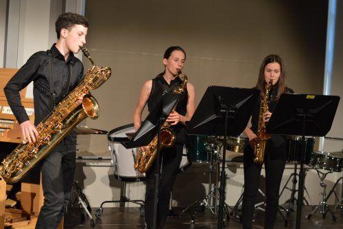"""Das Saxofontrio beim Landeswettbewerb """"Prima La Musica"""". Die Schüler der Musikschule Rankweil-Vorderland glänzten mit Spitzenleistungen.Musikschule"""
