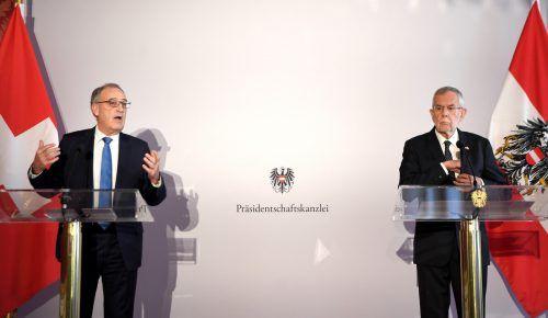 Der Schweizer Bundespräsident Parmelin kam zum Antrittsbesuch nach Wien. APA
