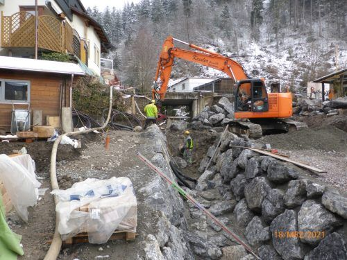 Die Mitarbeiter der Wildbach- und Lawinenverbauung sind seit Februar mit der Gerinneverbauung des Mühlbachs beschäftigt.WLV