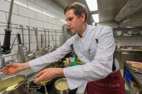 Dominic Mayer vom Gasthaus Hörnlingen in Rankweil kocht auf. VN/Paulitsch