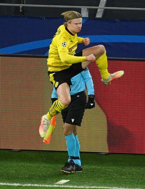 Dortmunds Erling Braut Haaland bejubelt seinen zweiten Treffer.Reuters