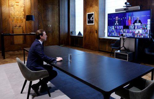 EU-Gipfeltreffen in Pandemiezeiten: Bundeskanzler Kurz tauschte sich mit den anderen Teilnehmern per Videokonferenz aus. reuters