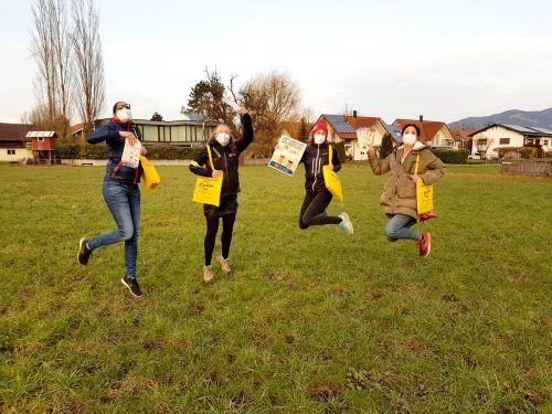 Evelyn Flatz (2.v.l.) und ihre Freundinnen trainieren schon fleißig für den Spendenlauf.vorarlberger kinderdorf