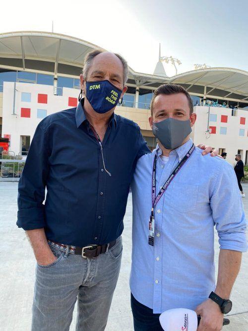 Formel-1-Fahrer im Ruhestand: Gerhard Berger und Christian Klien in Sakhir.KJ