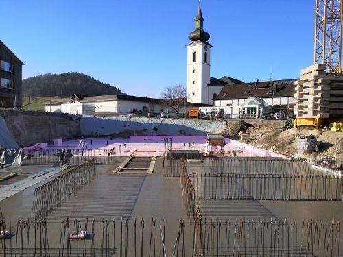Fundamentierungsarbeiten für das neue Schulhaus für Mittelschule und Polytechnische Schule in Hittisau.