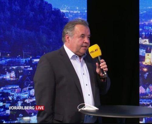 """Geschäftsführer Peter Pfanner zu Gast im Studio von """"Vorarlberg live""""."""