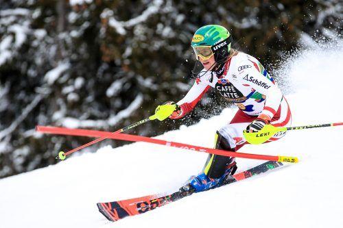 Im Slalom in dieser Saison eine Klasse für sich. Der Lohn für Katharina Liensberger ist die kleine Kristallkugel.gepa