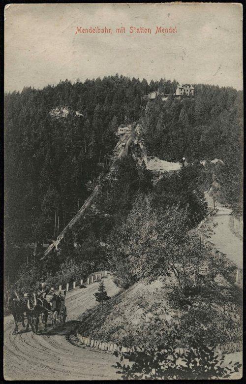 Mendelbahn mit Station Mendel im Jahr 1904.
