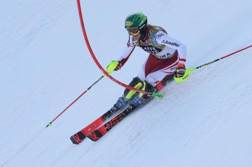 Mit der Startnummer zwei macht sich Katharina Liensberger heute im Slalom in Aare auf die Jagd nach einem Spitzenplatz.gepa