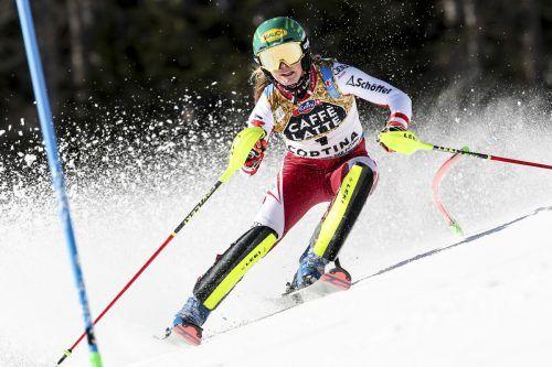 Nach dem WM-Titel im Slalom möchte Katharina Liensberger in dieser Disziplin auch im Weltcup an die Spitze fahen.gepa