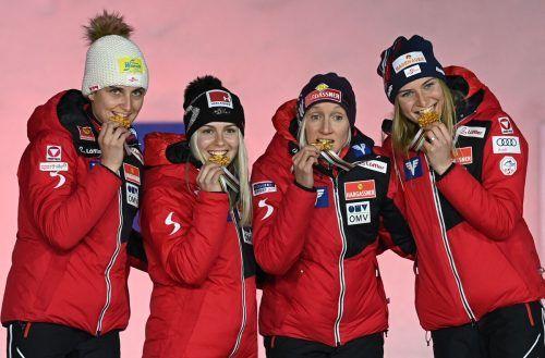 Österreichs nordische Skisportler hatten in Oberstdorf bei der WM viele Gründe, um auf Edelmetall zu beißen. Vier Mal Gold, einmal Silber und zwei Mal Bronze gab es für die Skispringerinnen und Co.Gepa/apa