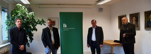 Robert Blum (l.) und Elmar Nöckl (Freiheitliche und unabhängige Bauern) sowie LK-Präsident Josef Moosbrugger (VP) und LK-Vizepräsident Hubert Malin. LK