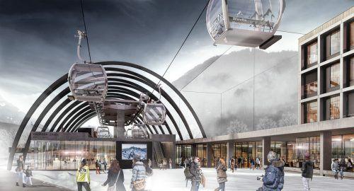 """So soll der neue Silvretta Park in Zukunft aussehen. Neben der neuen Valisera Bahn Talstation und dem Revier Hotel (rechts) soll es auch Restaurants, Geschäfte und eine große Tiefgarage geben. Berg- und Mittelstation """"Lang Vonier Architekten"""" und Talstation """"obermoser + partner architekten zt gmbh"""""""
