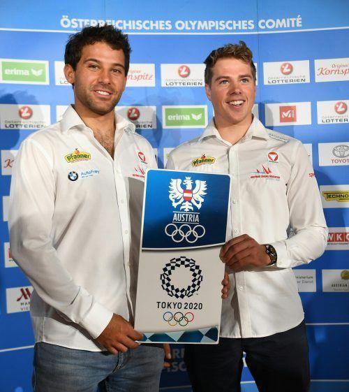 Die 49er-Medaillenhoffnungen Benjamin Bildstein (r.) und David Hussl.GEPA